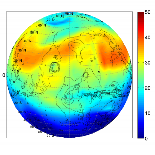 Distribution of H2O2 on Mars around fall equinox, as simulated by GEM-Mars (column-integrated volume mixing ratio, parts per billion). The simulated values correspond well to observations performed from a telescope based on Hawaï by Thérèse Encrenaz (Observatoire de Paris, France). The map is centered on the Tharsis region with 4 major volcanoes.