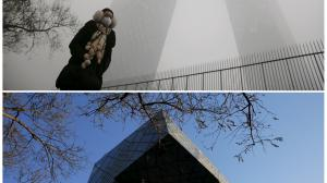 Person in city with and without smog
