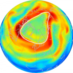 Ozone hole over the Arctic